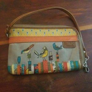 FOSSIL Key Per City Birds wristlet wallet purse